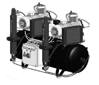 AC 600 – Three-cylinder, twin-head compressor, with 2 air
